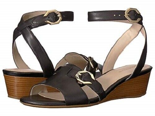 Brand New Cole Haan Terrin Wedge  Ankle Strap leather sandals