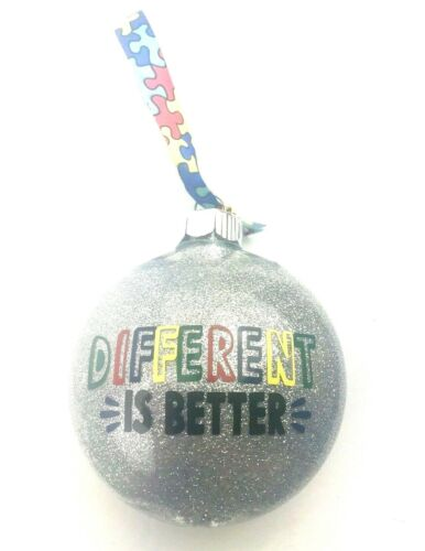 Christmas Ornament Autism Awareness gift holiday plastic glitter exchange