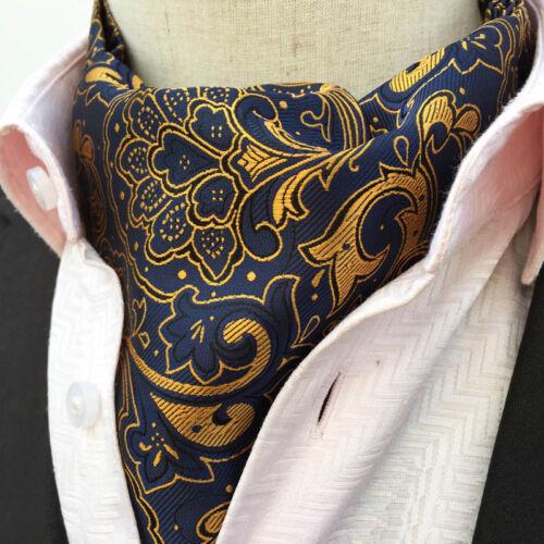Mens Blue Yellow Silk Flower Paisley Necktie Cravat Ascot Handkerchief Set Lot