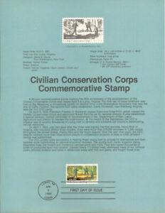 #8311 20c Civilian Conservation Corp Stamp - Scott #2037  USPS Souvenir Page
