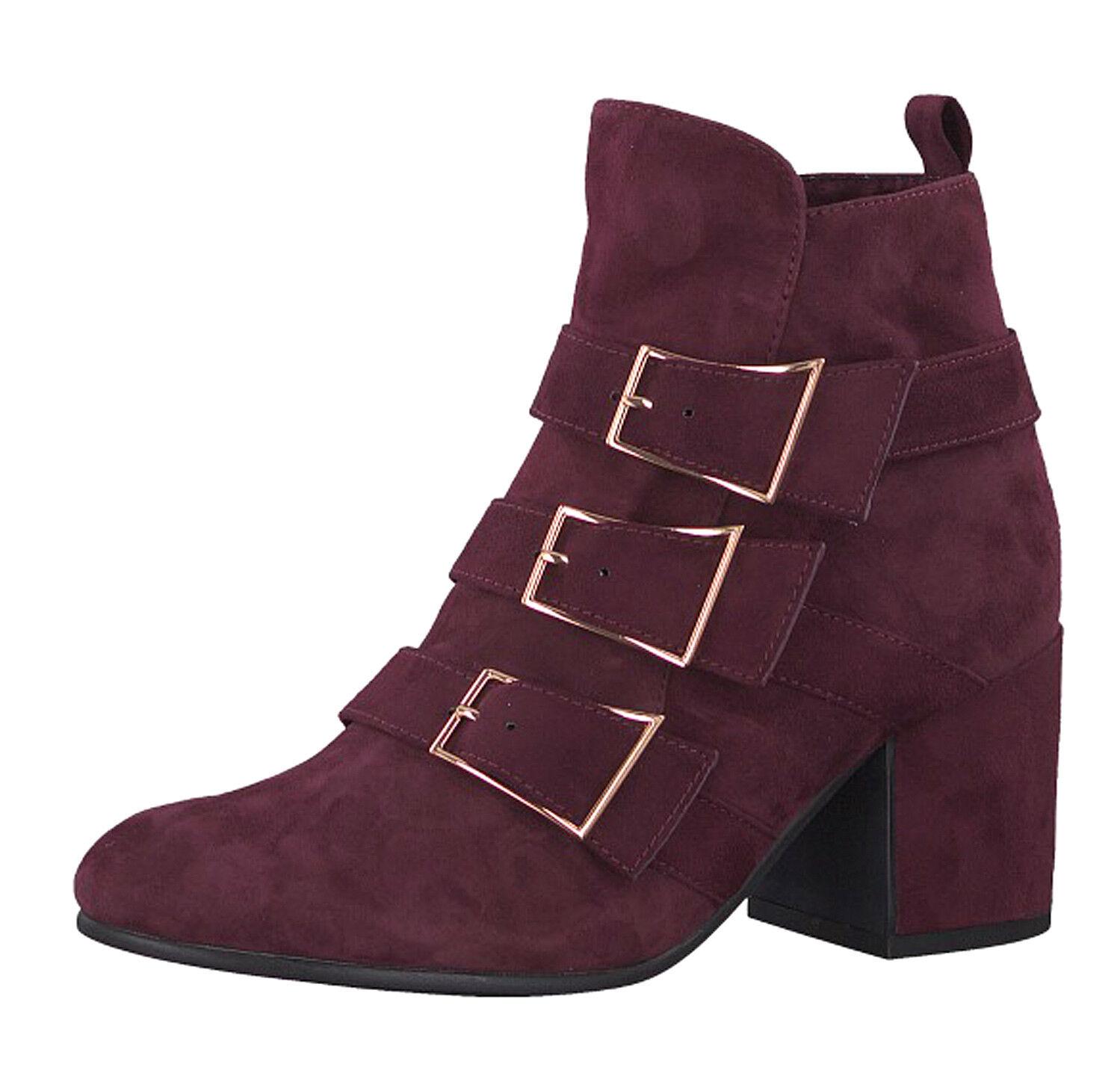 Tamaris x Marcel Ostertag 25302 Merlot burgundy suede block heel ankle boots 3-8