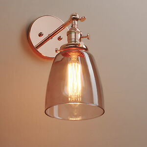 Vintage Grey Wall Lights : INDUSTRIAL VINTAGE WALL LAMP SCONCE GLASS SHADE LOFT WALL LIGHT BLACK GREY eBay