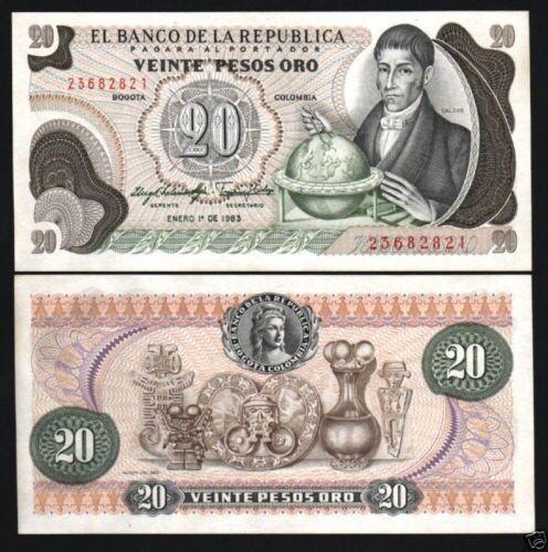COLOMBIA 20 PESOS P409 1983 X 100 PCS FULL BUNDLE LOT GLOBE MUSIC UNC MONEY NOTE