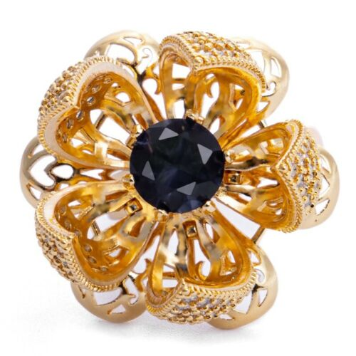 Gold Plated Creative Flower Bud Adjustable Switch Bling Women Ring Gift