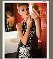 Dvf diane von furstenberg Size 8 Gunmetal Gray Sequin Christa Evening Gown NWOT