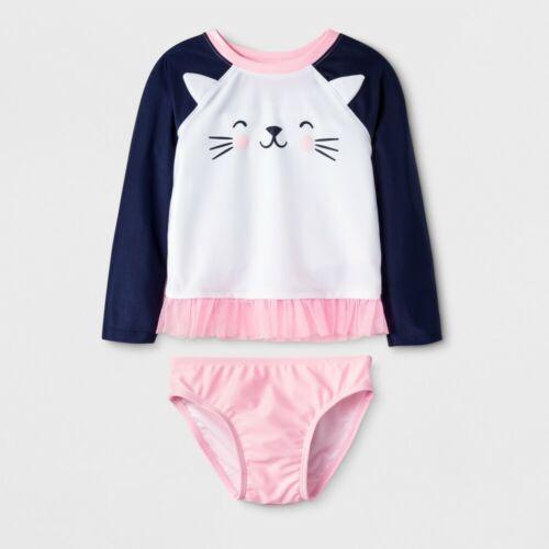 Cat /& Jack Toddler Girls/' Long Sleeve Cat Face Rash Guard White 2T