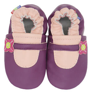 carozoo mary jane purple 3-4y soft sole leather toddler shoes