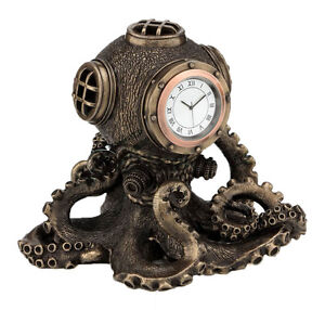 Nautical Steampunk Octopus Diving Bell Clock Statue ...