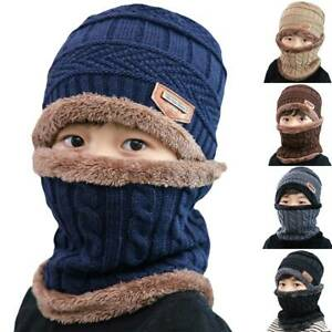 Kids Boys Girls Winter Hat and Scarf Set Warm Knit Beanie Cap Circle Scarf Set