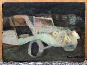Tableau Huile Cubiste Jacques DEGENNE Voiture Automobile Citroën XXe