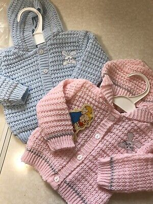 New Baby Knitted Hooded Cardigan Girls Boys Pink Blue Angel Kids 0-3 3-6 6-9 Mth