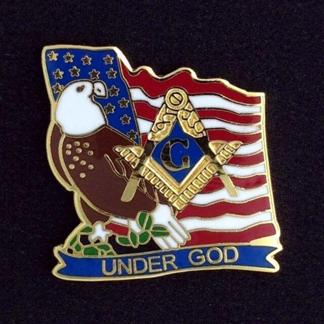"Masonic /""Under God/"" Patriotic Lapel Pin MFP-5"