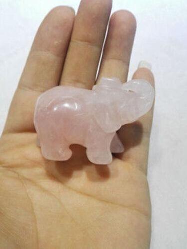 Rare rose natural quartz crystal elephant carving statue