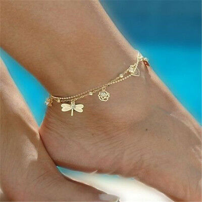 Women Charm Gold Dragonfly Chain Anklet Bracelet Barefoot Sandal Foot Jewelry