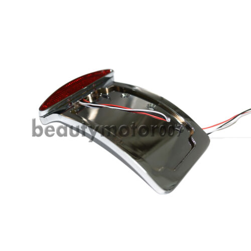 Motorcycle Curved Side Axle Mount License Plate Assembly LED Tail Light Bracket