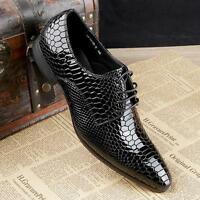 Black Red New Men's Crocodile pattern Real Leather Lace up Formal Dress Shoes sz