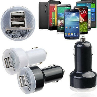 Universal Double Dual USB 2 Port Mini Car Charger Adapter Power For Mobile Phone
