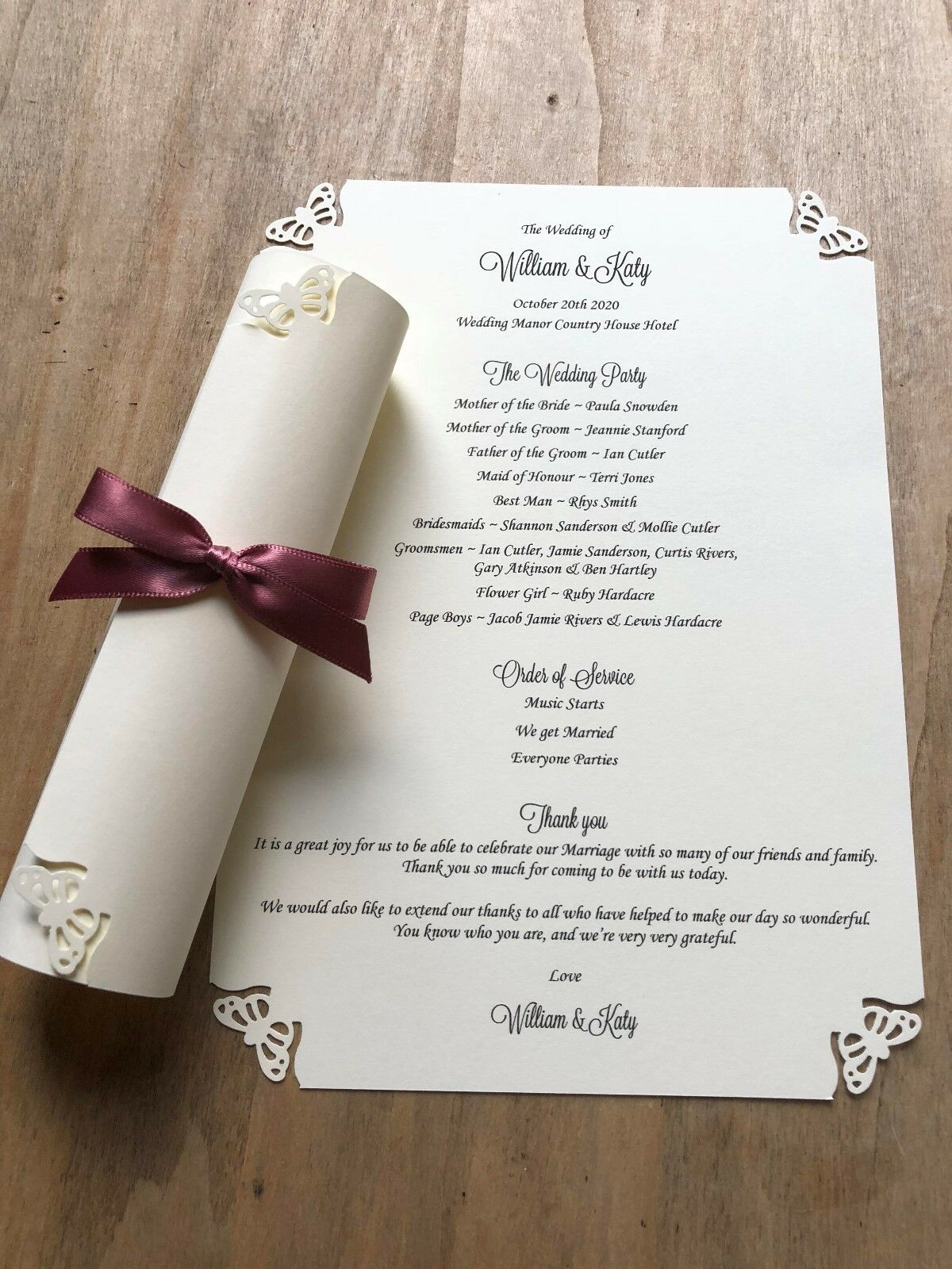 100 Personalised Ivory Wedding Order of Service Scrolls Butterfly design ribbon