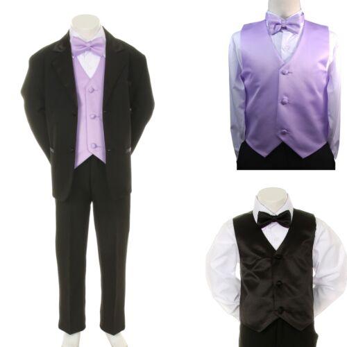 Lilac Vest Bow Tie sz S-4T New Baby Boy Formal Wedding Party Black Suit Tuxedo