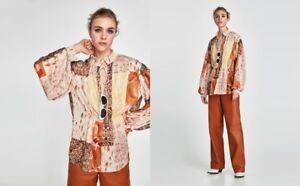 New-ZARA-Multi-Color-Beige-Camel-Floral-Print-Top-Shirt-Blouse-V-neck-size-S-M-L