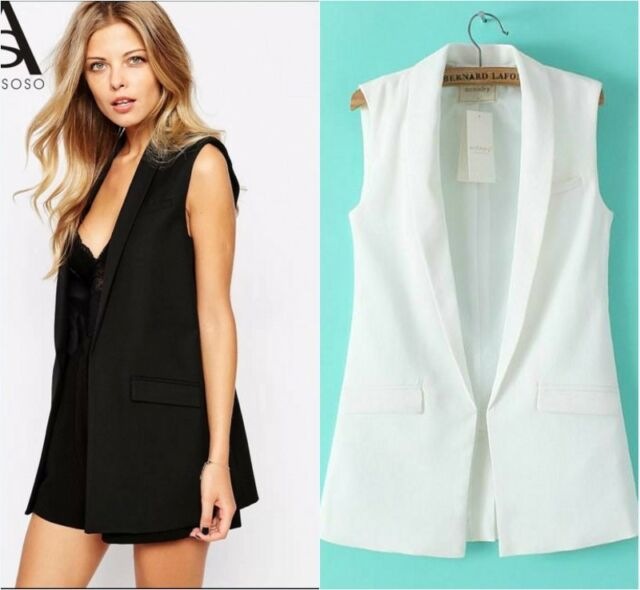 New Fashion Womens Sleeveless Casual Suit Blazer Vest Tops Waistcoat Coat jacket