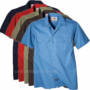 Dickies Work Shirts Mens Short Sleeve Button Front Stripe Work ...