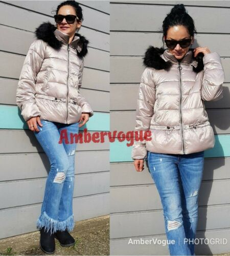 S Pink Jacket Size Zara Quilted 8 Uk Aftagelig Hood Fur fZvBgwxq
