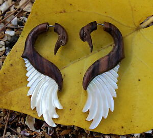 Fake Gauge Earrings ,Tribal Style, Mother of pearl Shell ,hand carved,swan