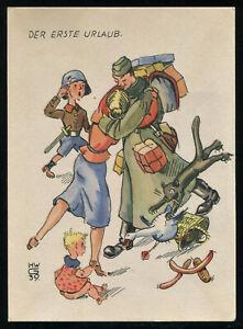 WW2-WWII-Germany-3rd-Reich-Postcard-German-Hitler-Army-Soldier-Feldpost-1939-PC