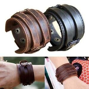 Fashion-Men-Retro-Genuine-Leather-Buckle-Punk-Cuff-Bangle-Wristband-Bracelet-1