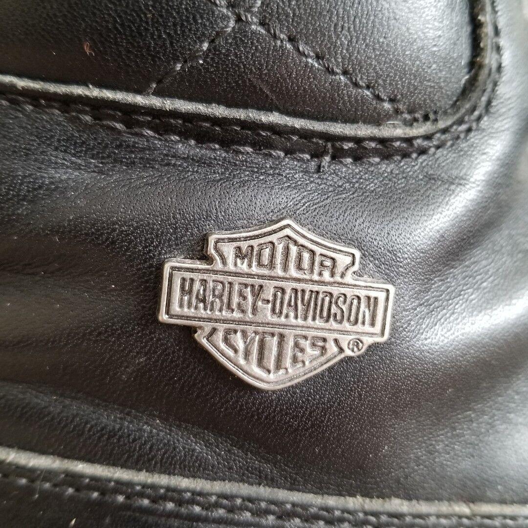 HARLEY DAVIDSON Official Biker Damenschuhe Stiefel LEATHER ALL BLACK Schuhes sz 7.5