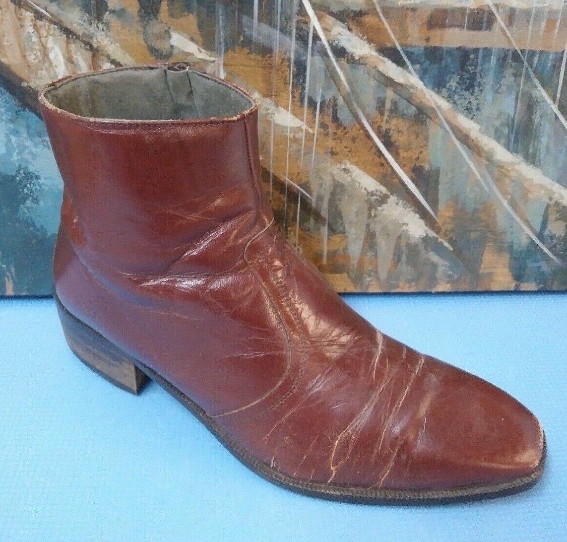 Rodolfo Valentino BURGUNDY Leather Dress Fashion Stiefel Men Footwear Spain 10 M