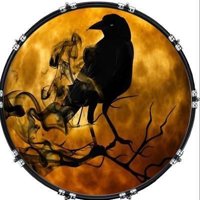 aquarian 22 kick bass drum head graphical image front skin moon raven ebay. Black Bedroom Furniture Sets. Home Design Ideas
