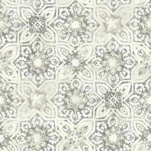 Wallpaper-Designer-Faux-Fatima-Portugese-Tiles-Gray-Taupe-Cream