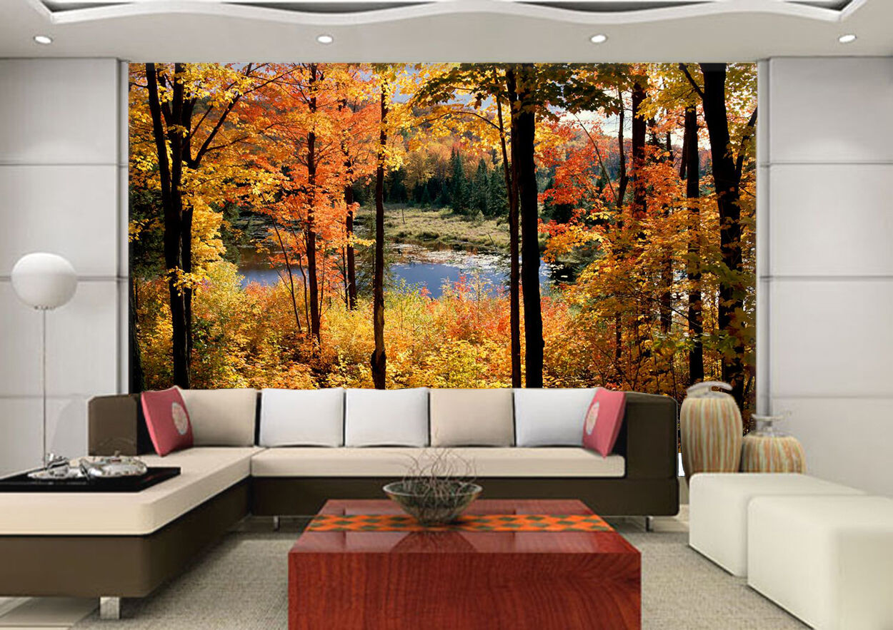 3D  River in yellow woods Wall Paper Wall Print Decal Wall Indoor AJ Wall Paper