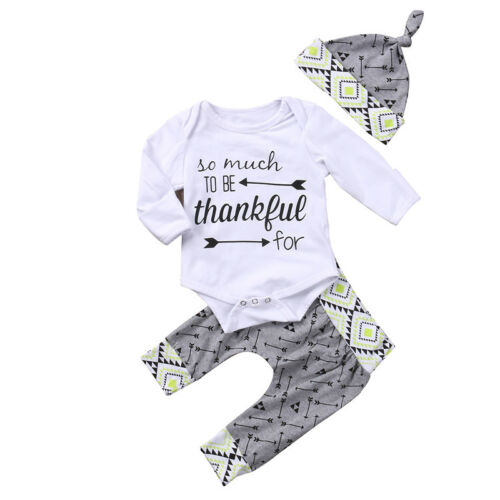 Newborn Baby Boy Long Sleeve Romper Tops+Pants Hat Outfits Spring Clothes 0-24M