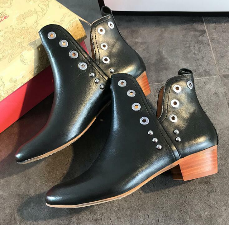 Womens Punk Gothic Autumn British Rivets Cuban heels Ankle Martin Chelsea Boots