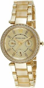 Michael-Kors-MK5842-Parker-Gold-Dial-Gold-Tone-Horn-Accetate-Women-039-s-Watch