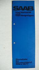 Prospekt Saab Preisliste Modelle 1977: 96 L, 99, 3.1977, 6 Seiten, folder