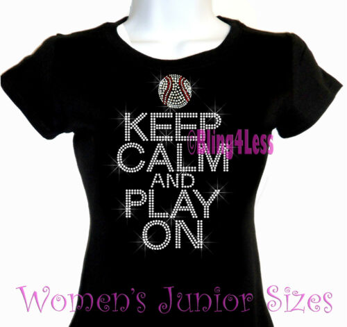 Sports Mom Top Keep Calm and Play On BASEBALL Iron on Rhinestone T-Shirt