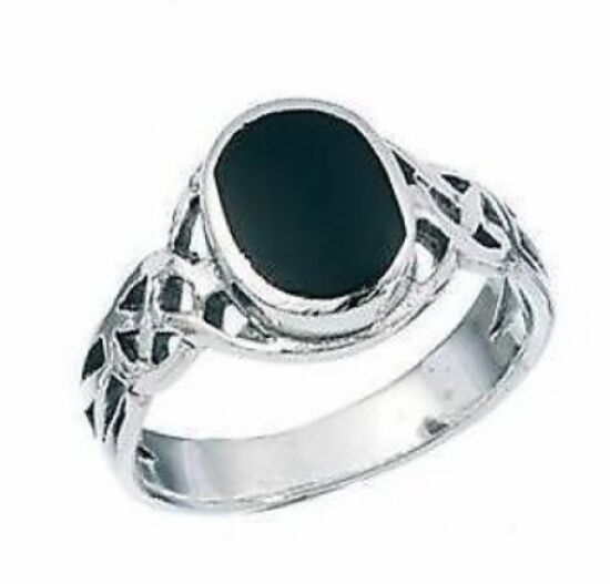 Ladies/Mens 925 Sterling Silver Celtic Finger/Thumb Ring with Black Onyx