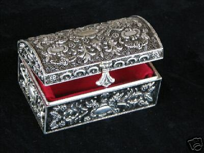 Diana Chest Style Silver Plated Jewelry Trinket Box