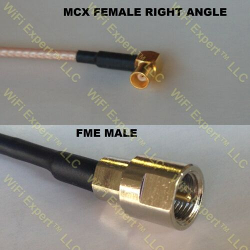USA-CA RG316 MCX FEMALE ANGLE to FME MALE Coaxial RF Pigtail Cable