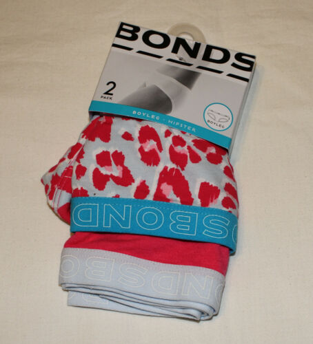 Select Design Bonds Ladies Hipster Boyleg Brief 2 Pack Print Plain Size 16 New
