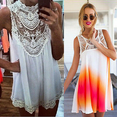 Sexy Women Lace Chiffon Party Evening Summer Ladies Short Beach Dress HOT SELL