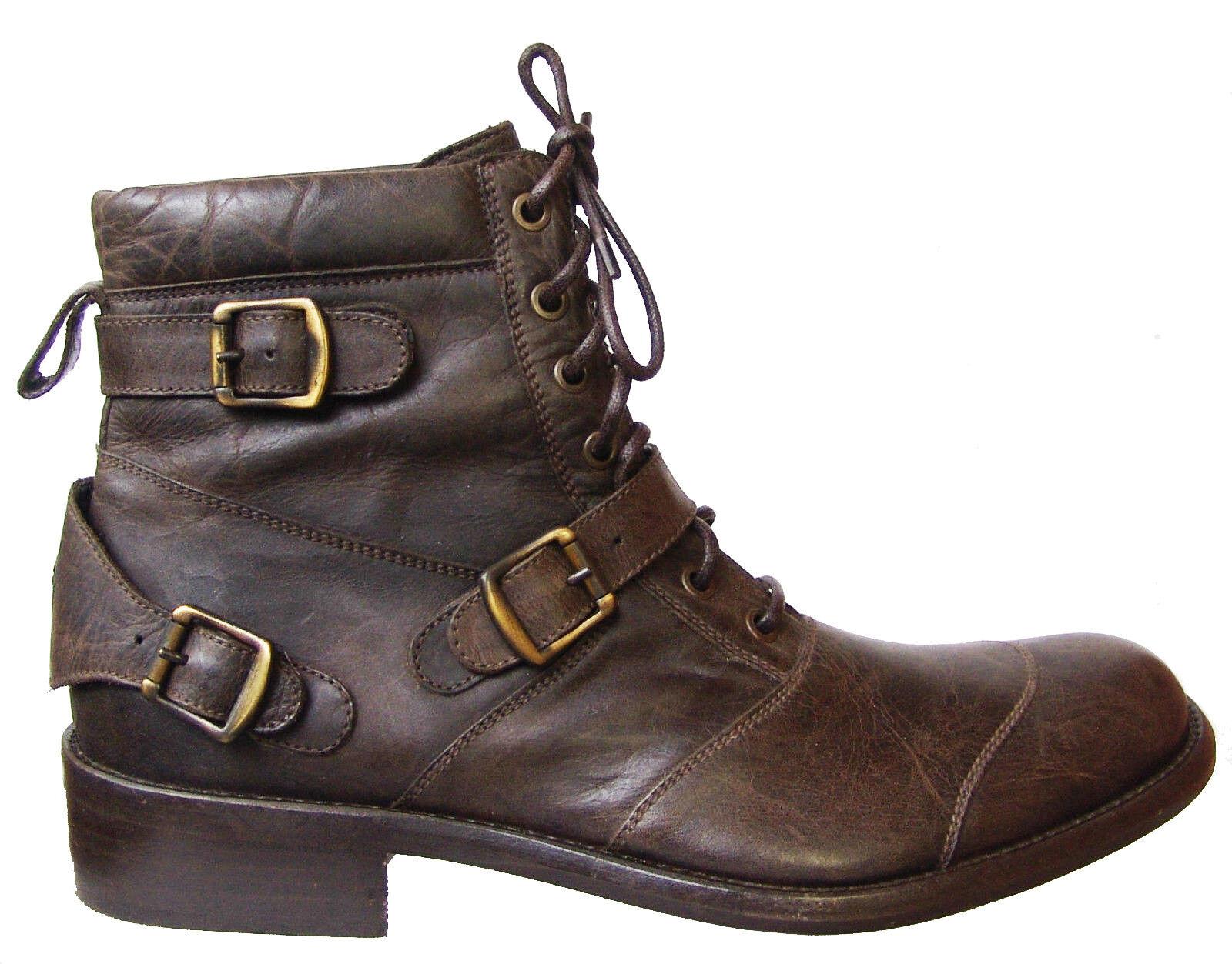 Zapatos De Cuero BELSTAFF hombre lacedmaster negromarrón botas hecha en Italia