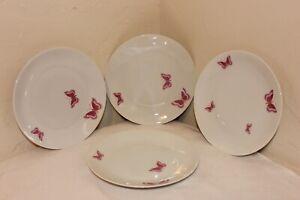 RARE-Jean-Luce-Arzberg-Salad-Plates-Pink-Butterflies-Mint-MCM-7-1-2-034