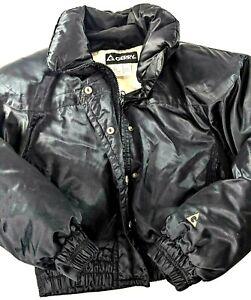 Gerry Goose Down Nylon Puffer Ski Jacket Ladies Small Short Cut Vintage Black