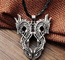 Nordic Viking Mamman Double Dragon Sekira Pendant Necklace