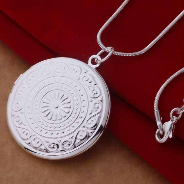 925 Silver Plated Round Opening Locket 18 Inch Necklace Pendant Chain Jewelry